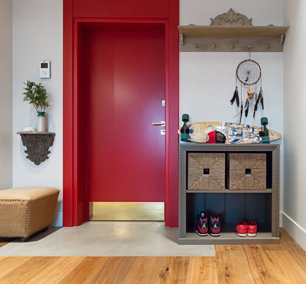 Red door and door-frame for the modern styled entry