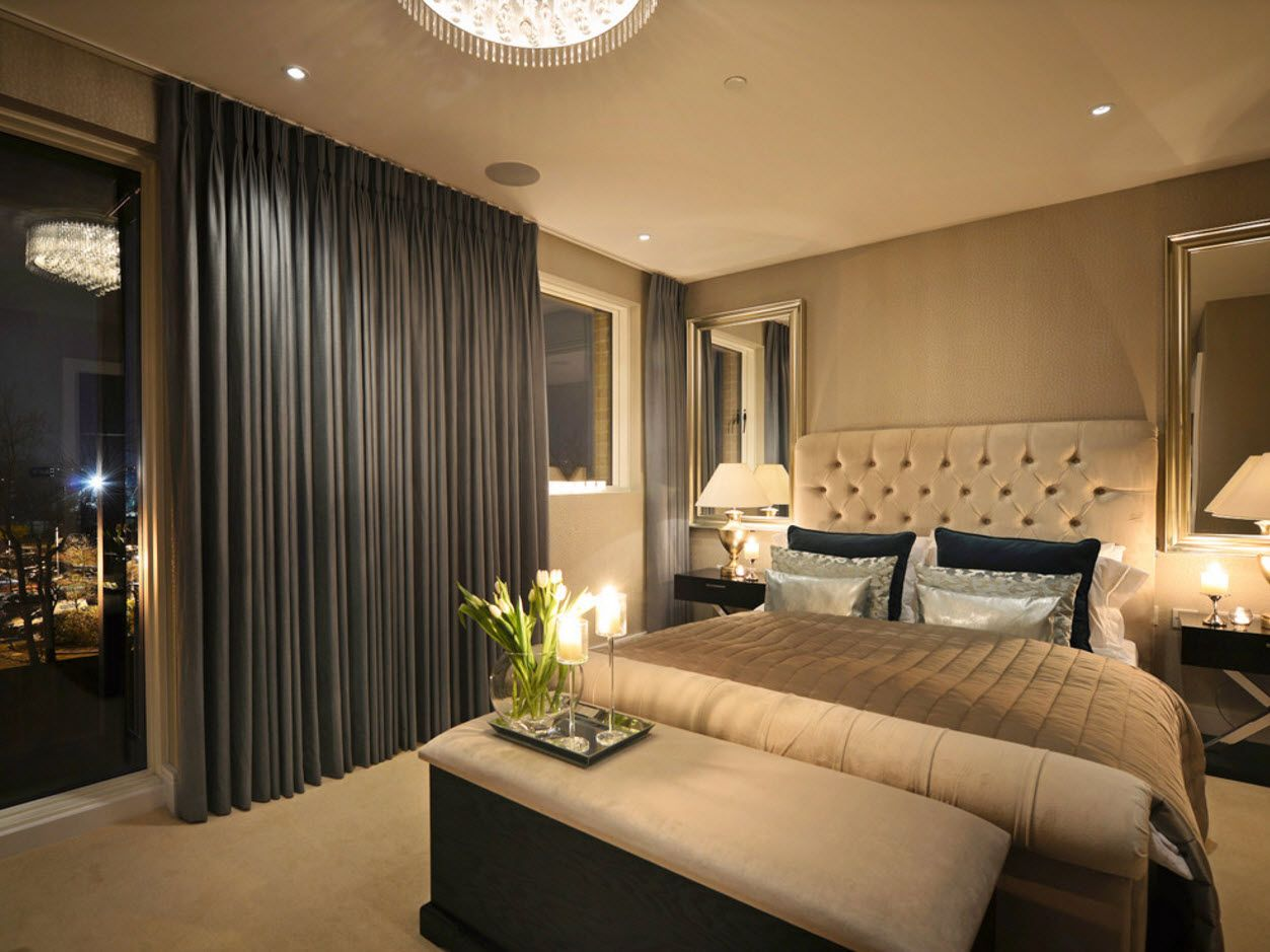 Bedroom Drapes 2017. Design, Forms, Real Examples with Photos. Blackout curtains in the perfectly lit with artificial light room