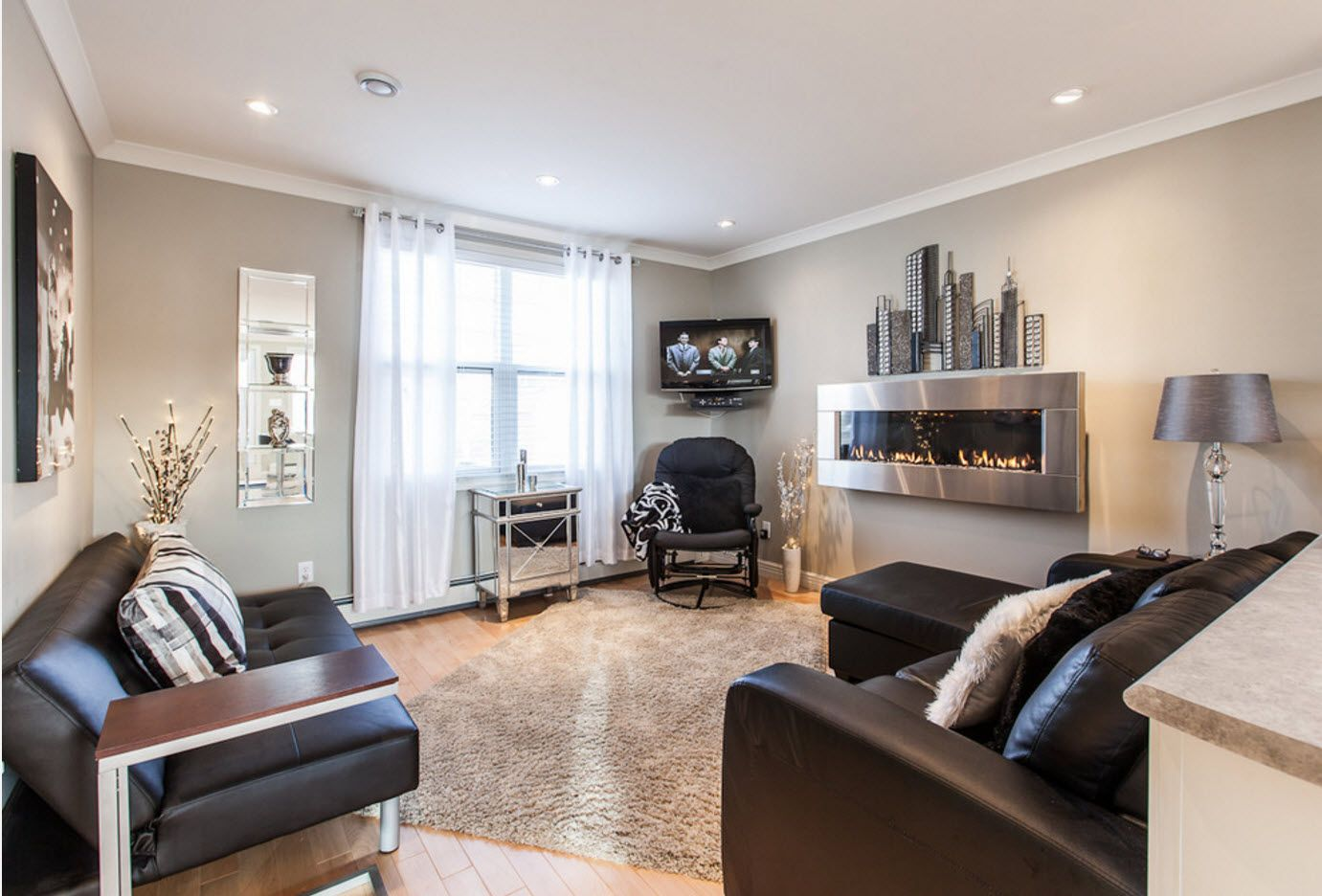 Modern realization of Art Nouveau style in the gray finished living room
