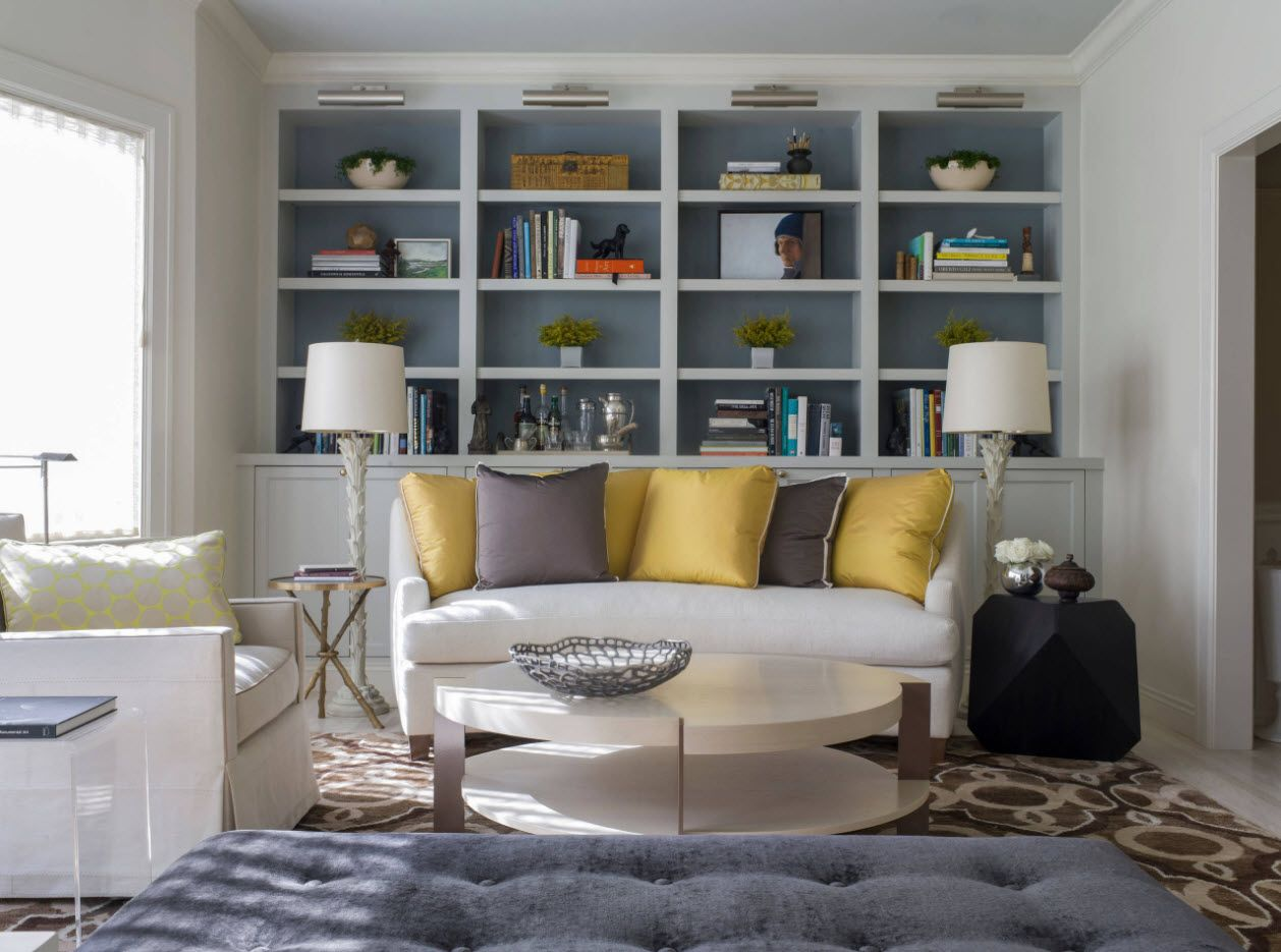 Cozy small living room with sofa and shelving for books