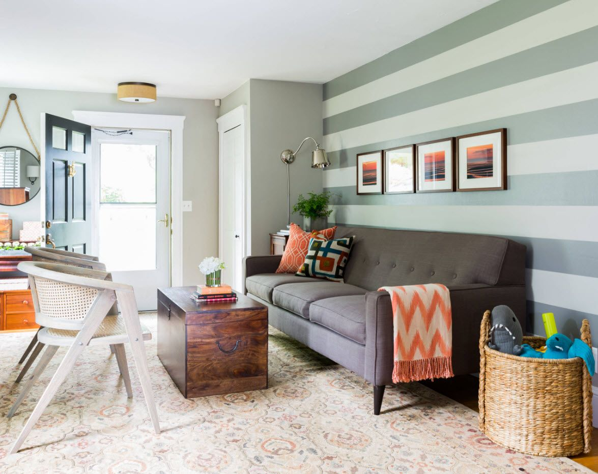 Nice striped green accent wall in the living