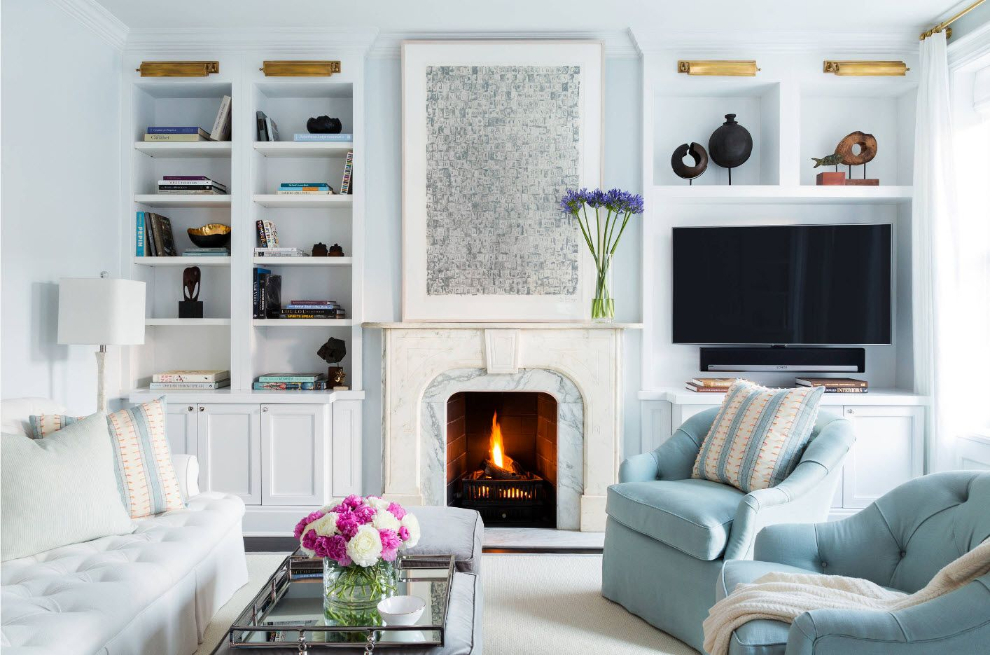 Light blue interior with fireplace