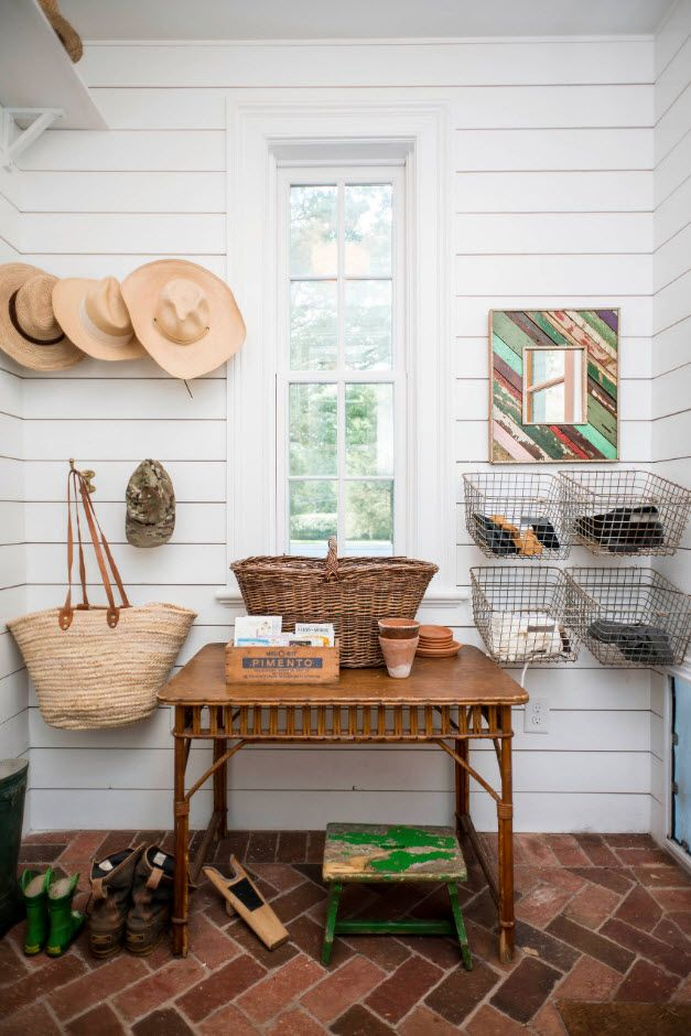 White wooden planked entrance hall interior in American country style