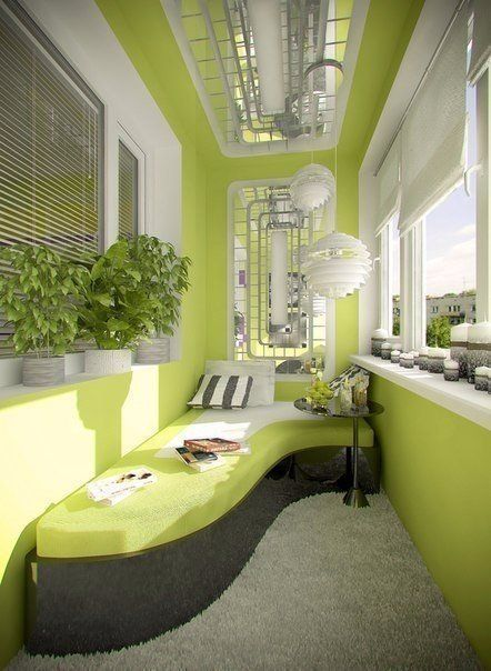 Lime color for walls at the modern light balcony