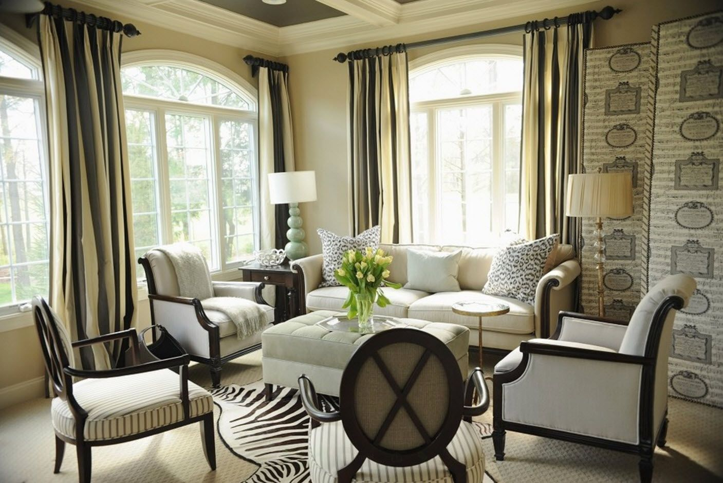 Creamy interior for Classic setting of modern urban living room
