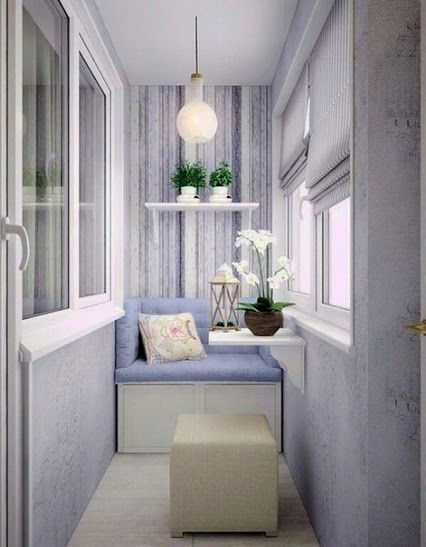 White pastel interior of the balcony
