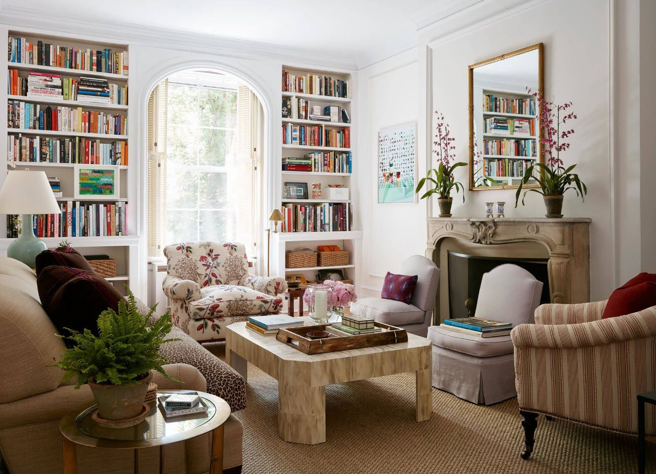Real library at the sunlit living room at the private house