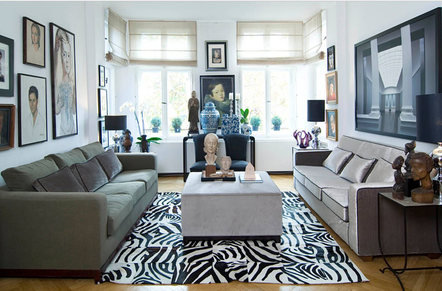 Zebra carpeting in the center of modern living room
