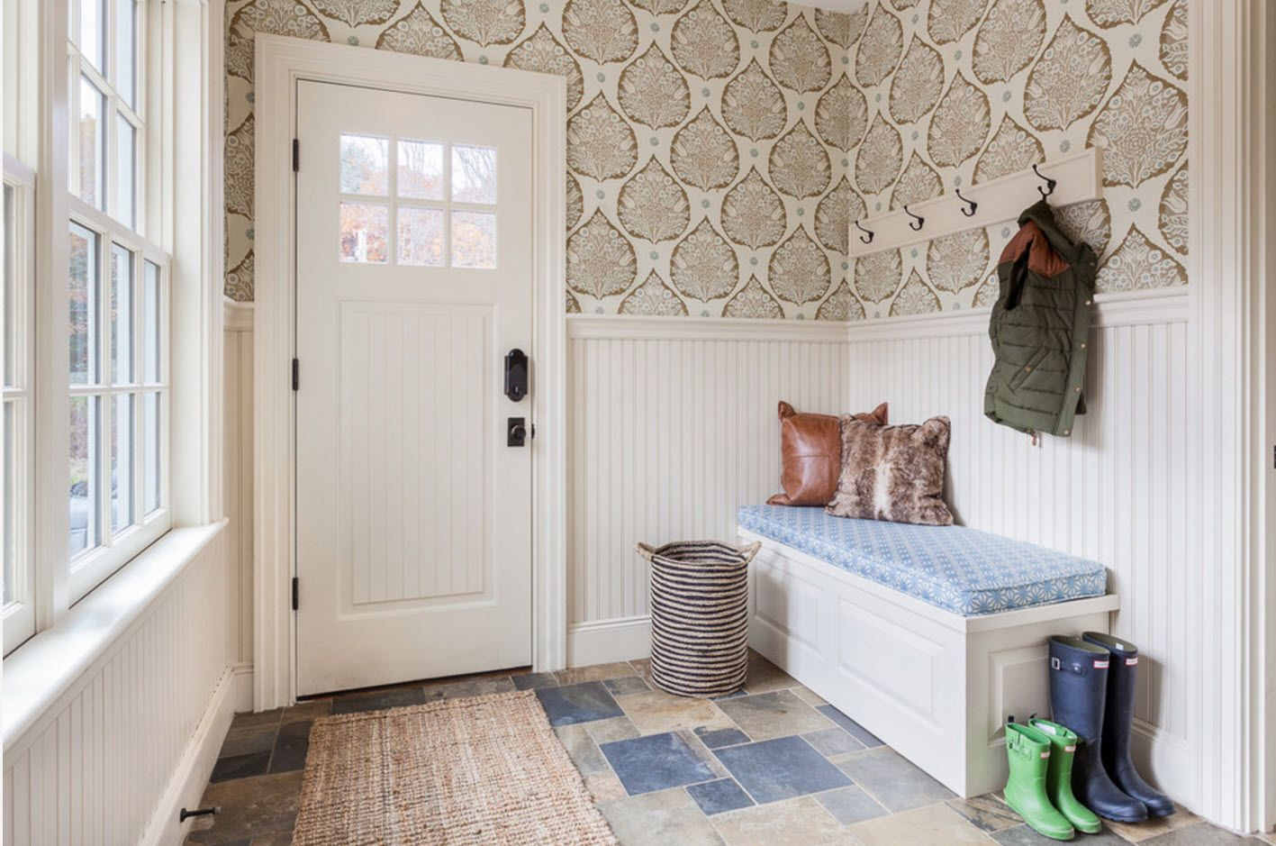 Classic American country style with wallpapered walls