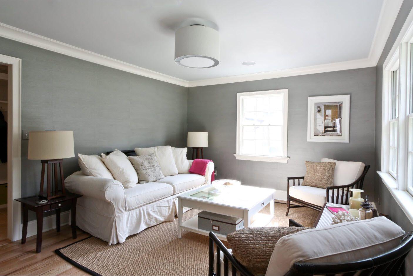 Scandinavian or English interior with gray walls