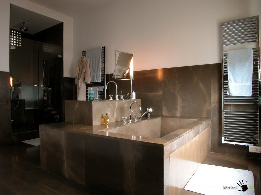 Modern Spacious Terrace Paris Apartment Design Project. Bald design of the bathroom zone in apparent fusion style