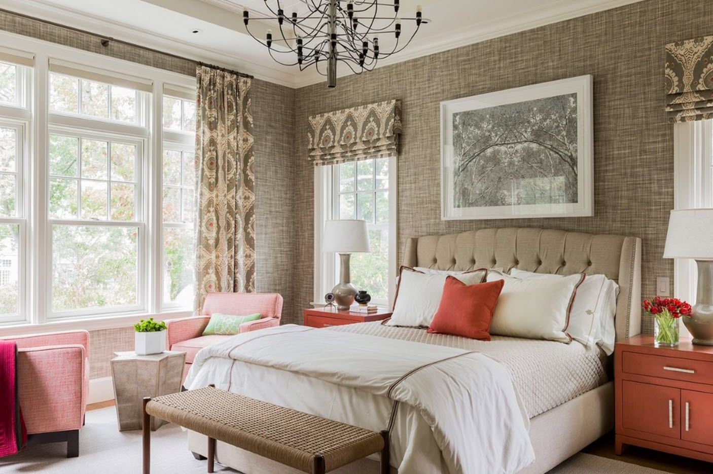 Classic bedroom decoration with quilted creamy soft headboard