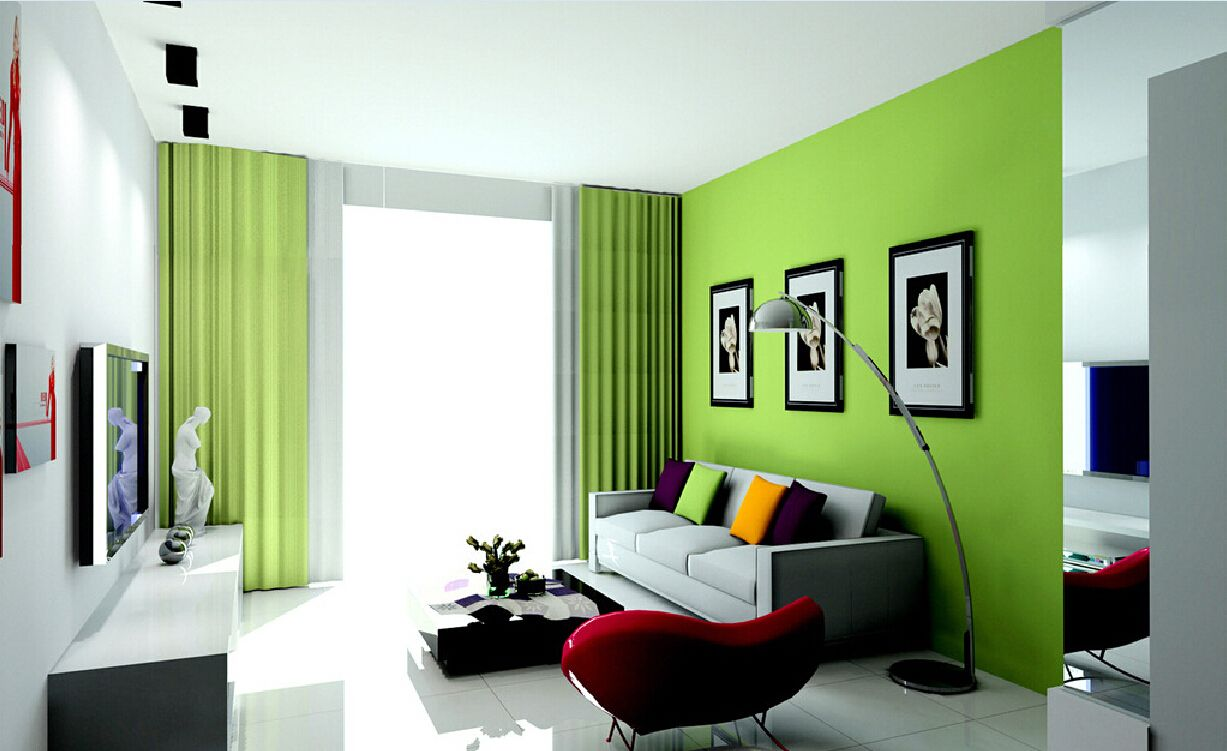 Green decoration of the modern living room
