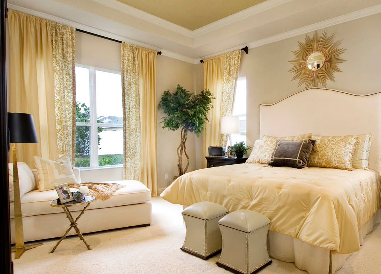 Yellow sunny bedroom design