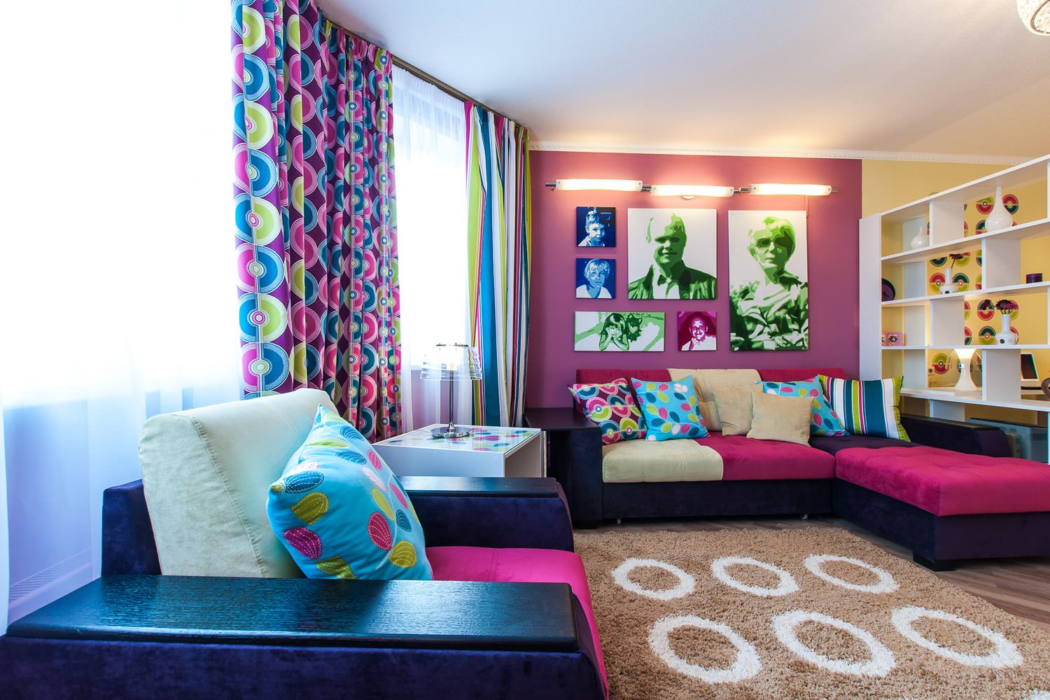 Colorful combinations at the pop-art interior