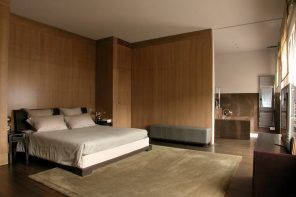 Modern Spacious Terrace Paris Apartment Design Project. Zoned with wooden paritions sleeping zone