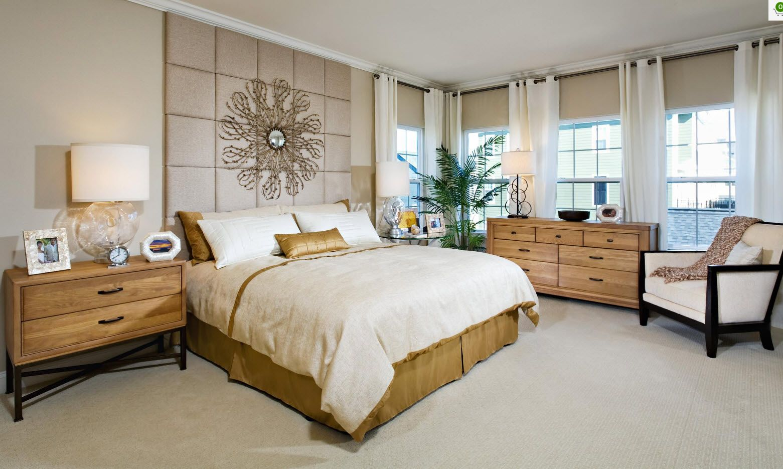 Modern classic with grommet top draperies and expression at the headboard