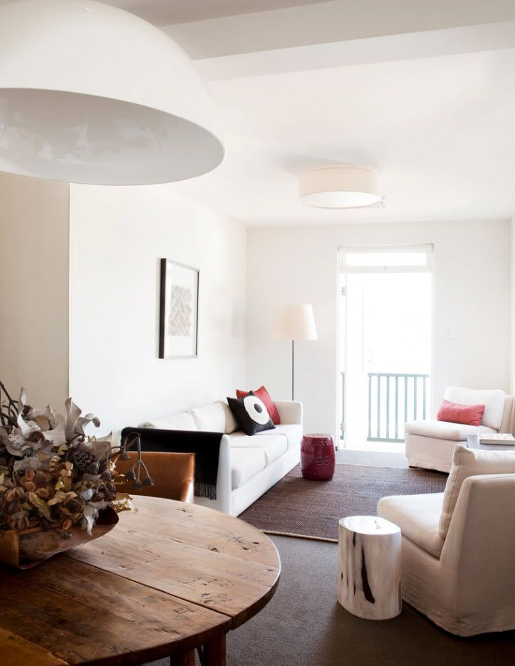 Light setting of the cozy studio apartment with balcony