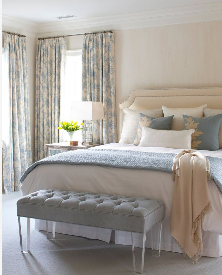 Bedroom Drapes 2017. Design, Forms, Real Examples with Photos. Classic pastel setting of the modern room