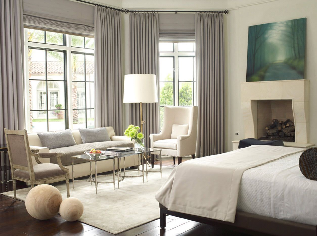 Bedroom Drapes 2017. Design, Forms, Real Examples with Photos. Large room with living zone and gray draperies