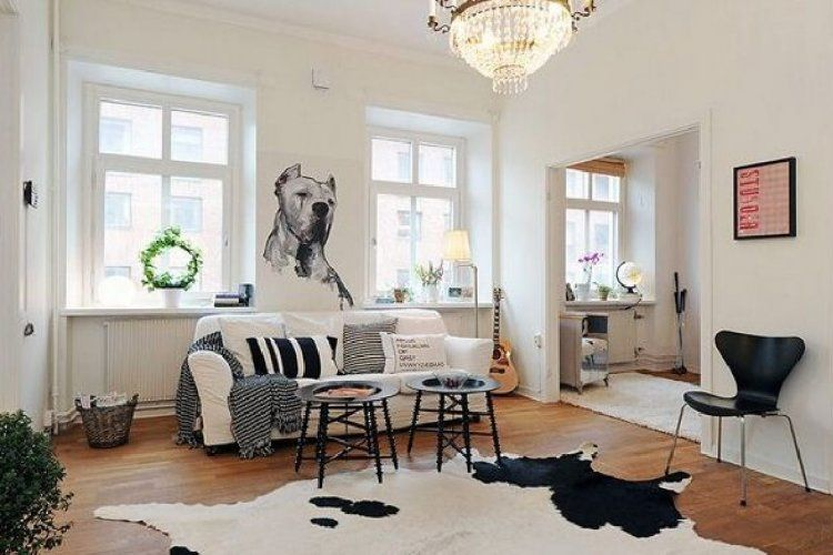 Concise, neat and cozy interior design of Swedish, Nordic or Scandinavian style