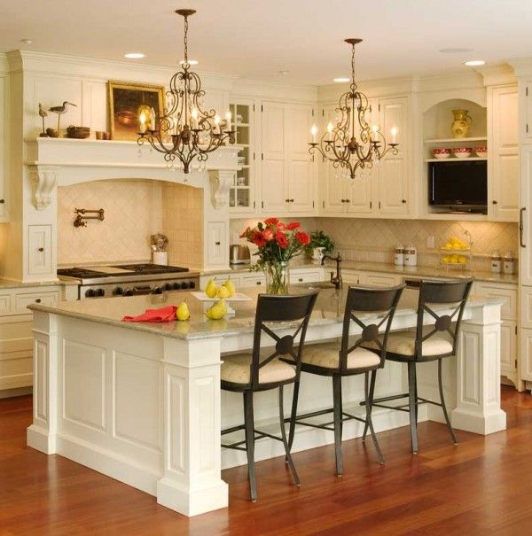 European country style called Tuscan in the large kitchen
