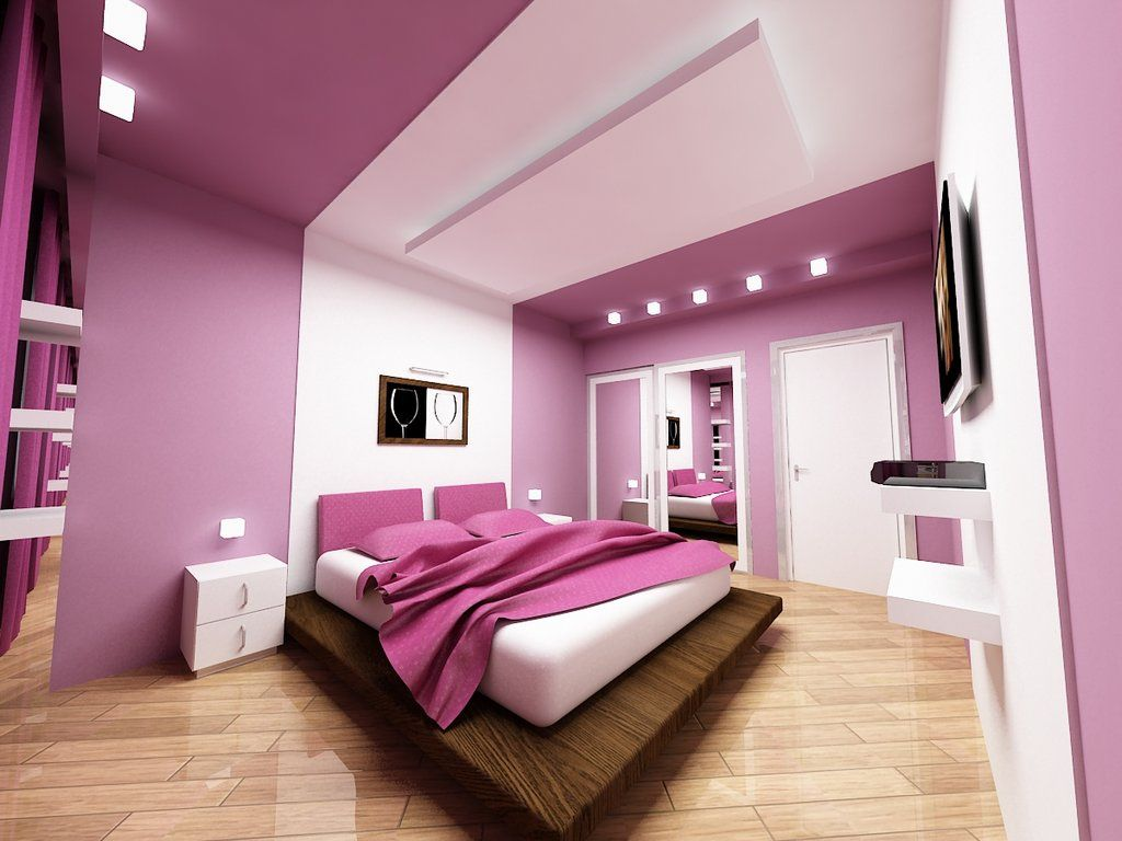 Purple hi-tech modern bedroom