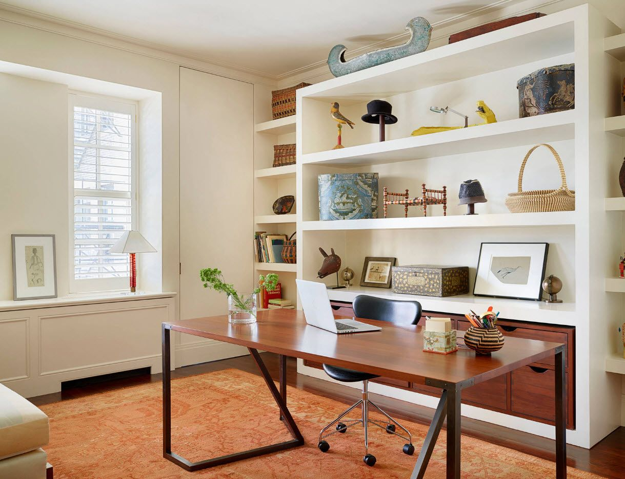 Unusual form of the table with wooden countertop for modern home office 2017