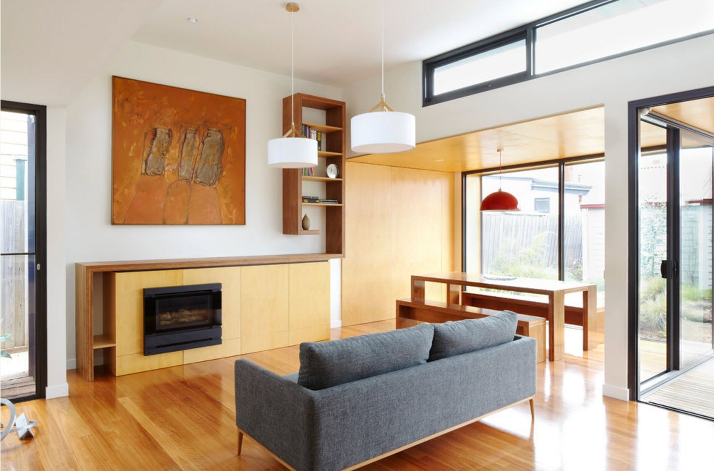 Modern light wooden design for living room