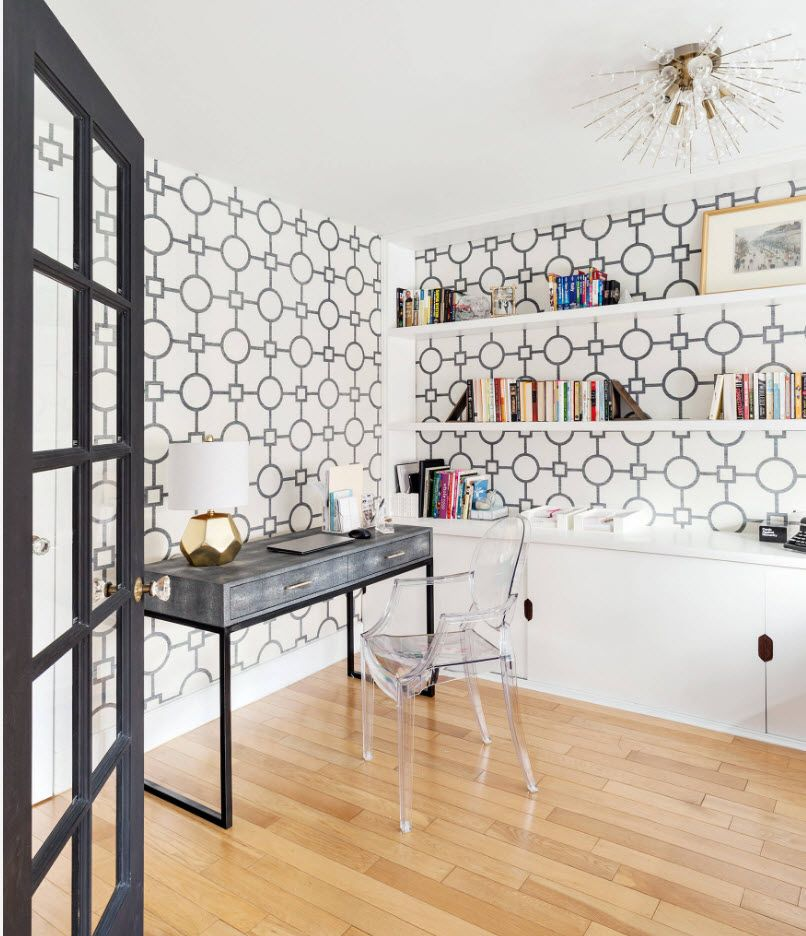 Top 100 Modern Home Office Design Trends 2017. Wallpaper gray circles pattern and glass top of the table
