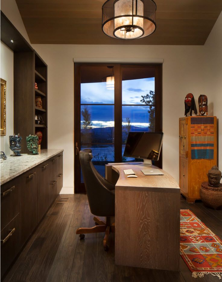 Home office with wooden trimming