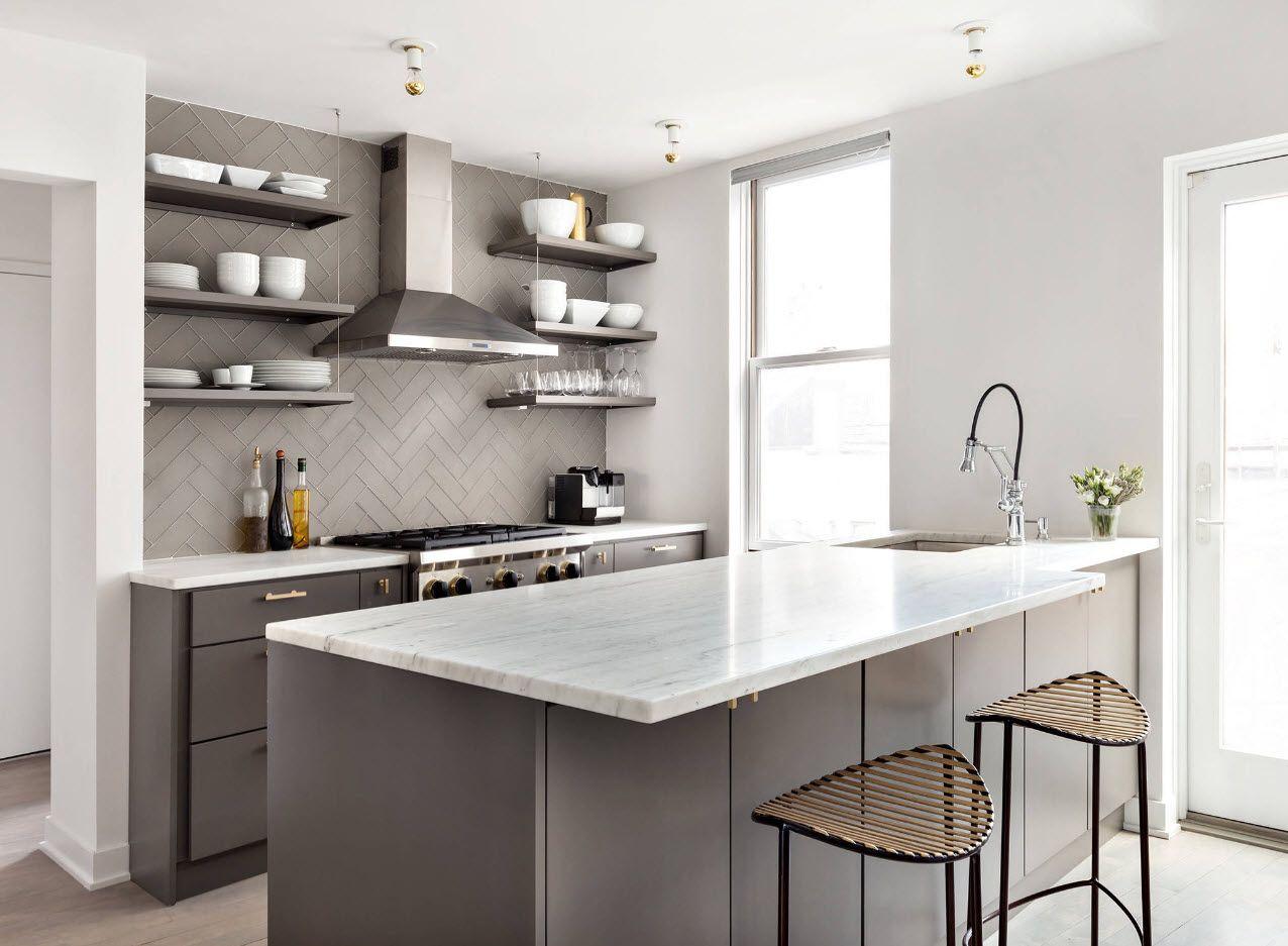 Modern functional minimalism in large kitchen