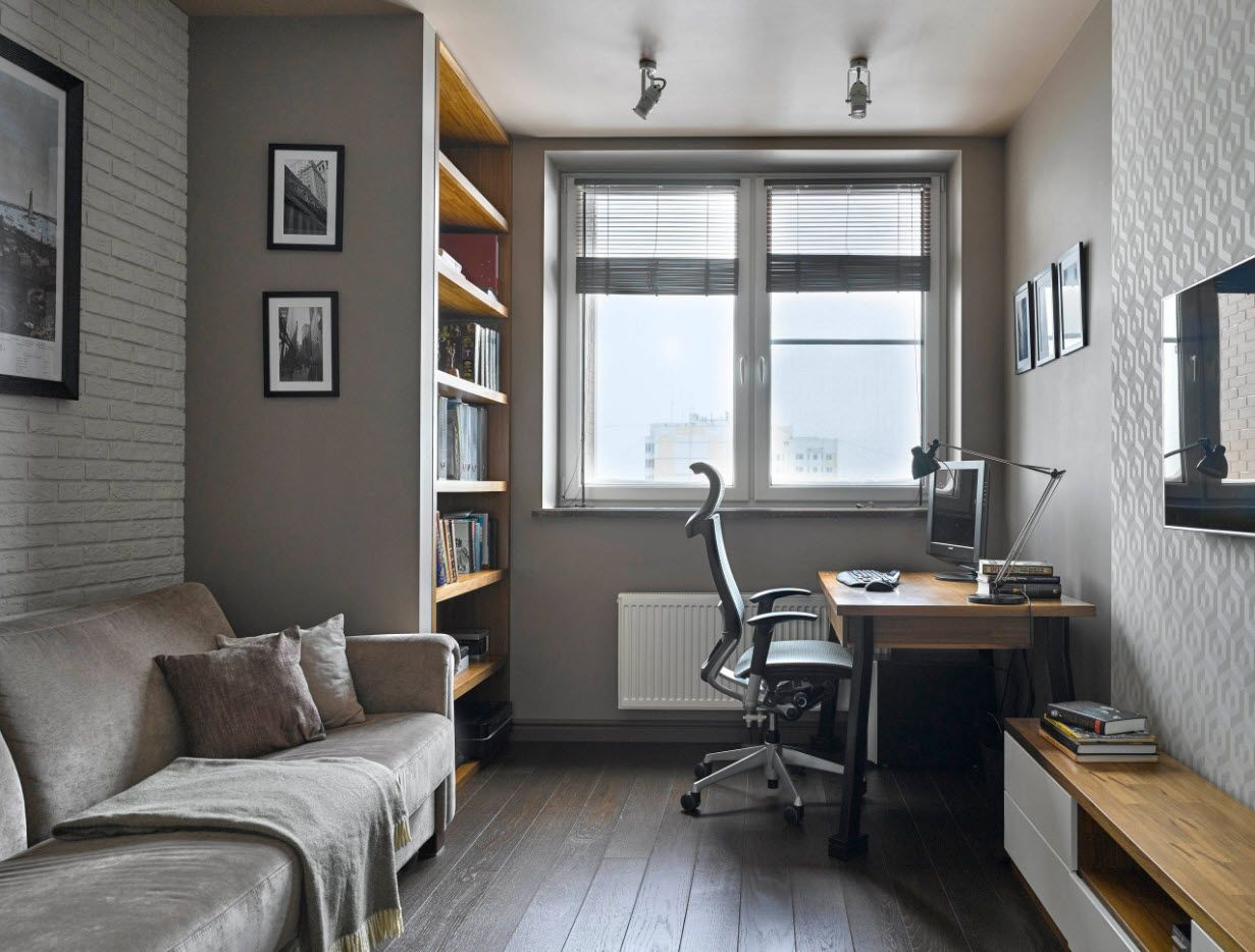 Top 100 Modern Home Office Design Trends 2017. Functional modernity in gray color