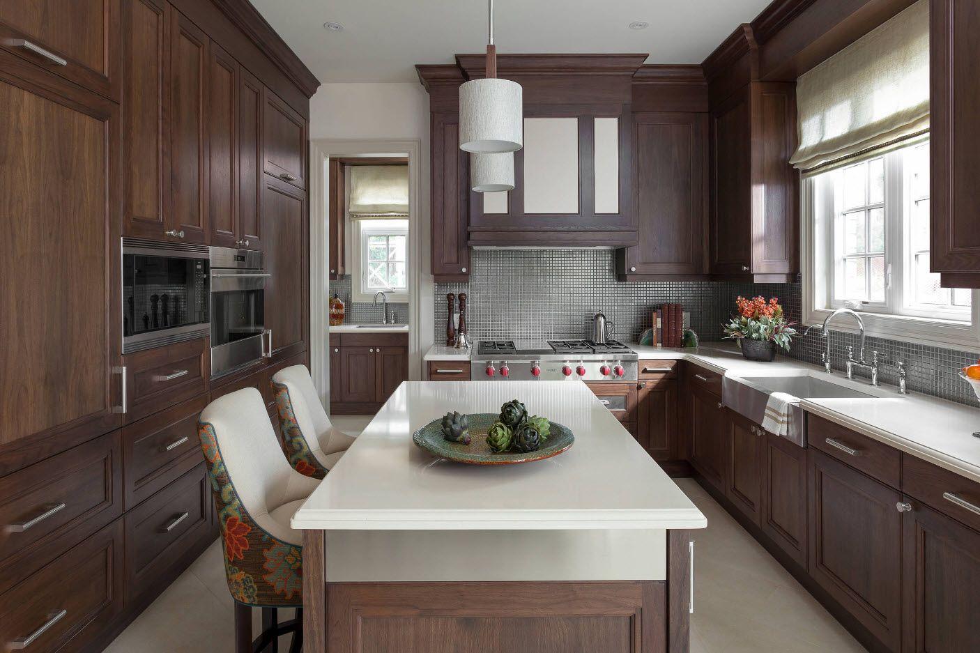 40 Square Feet Kitchen Modern Design Ideas & Layout Types. Noble dark wooden facades