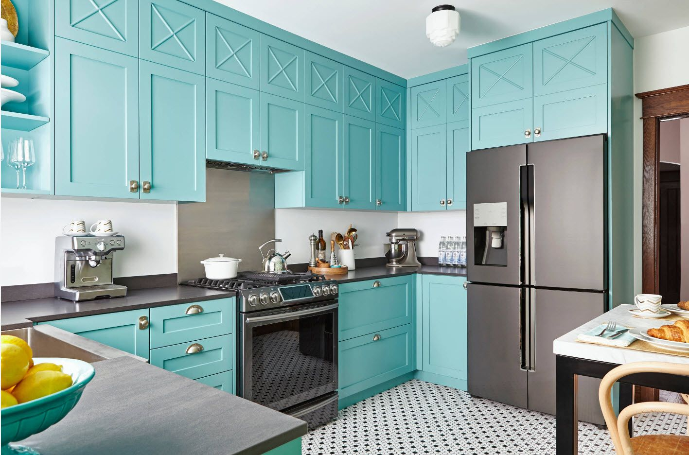 Nice tender turquoise hue for the furniture set at the kitchen