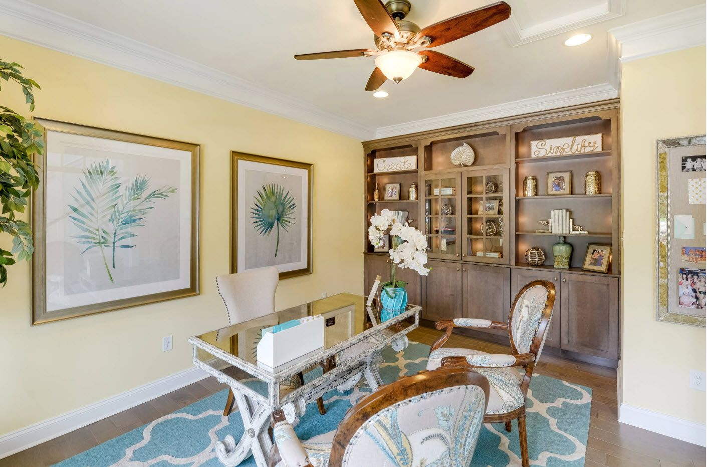 Air fan and the glass table at the classic styled home office
