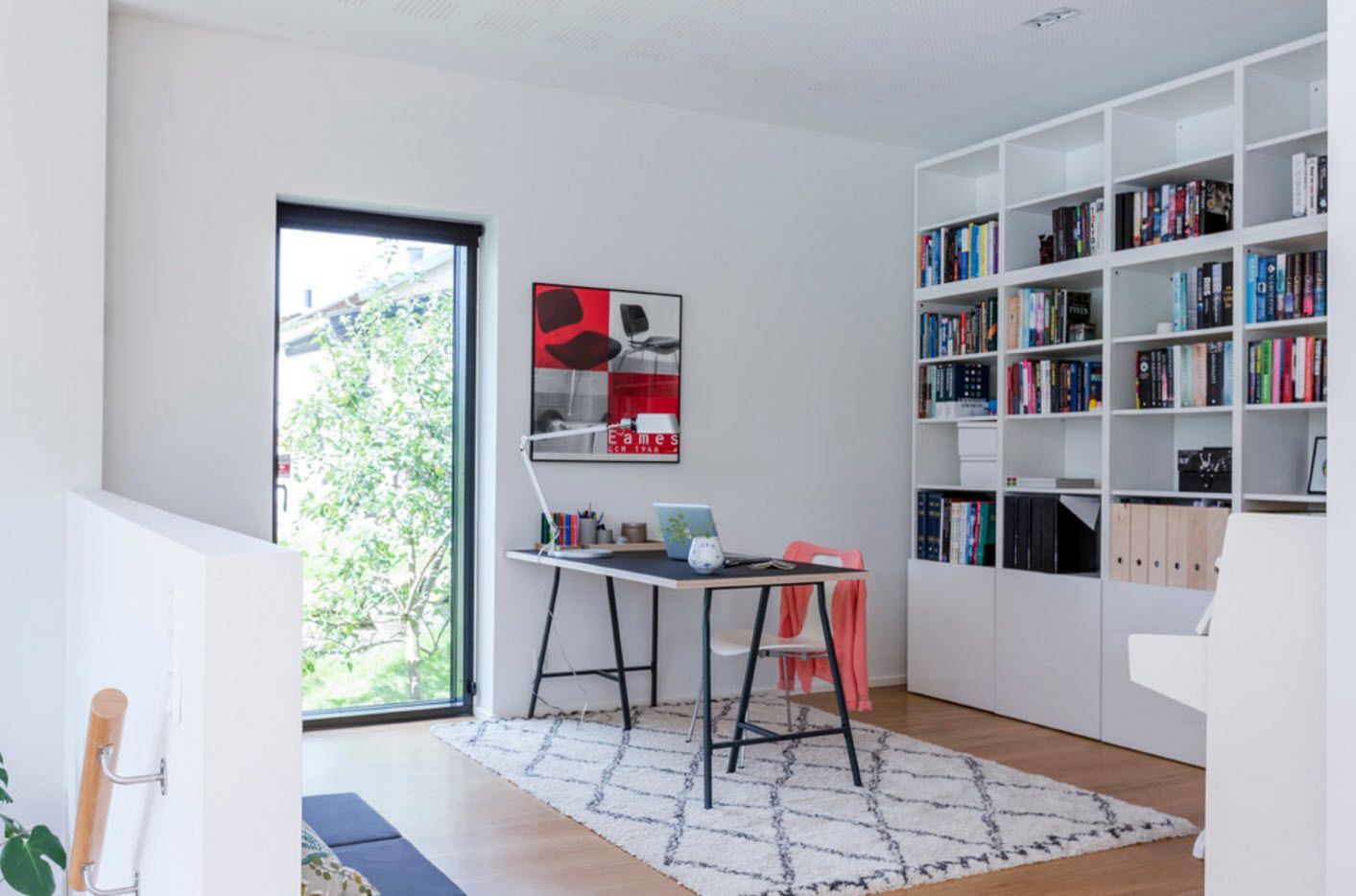 Scandinavian home office design with bright accents