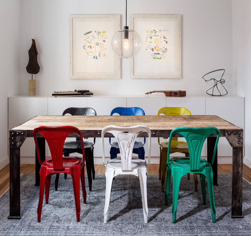 Plastic colorful set of chairs for dining room