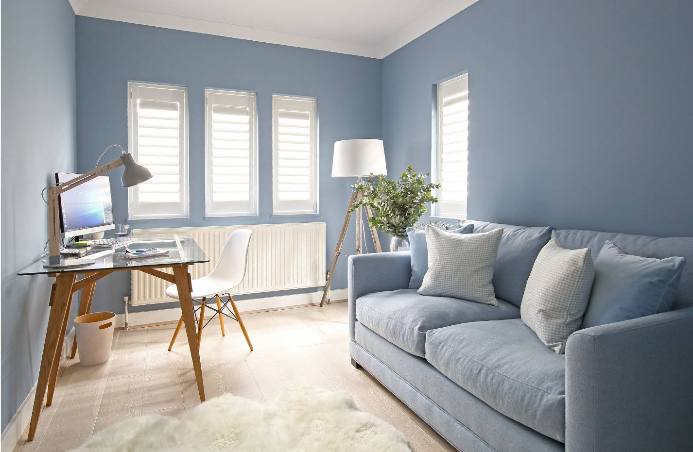 Blue room with blue soft in the identical tint and fluffy white rug at the center