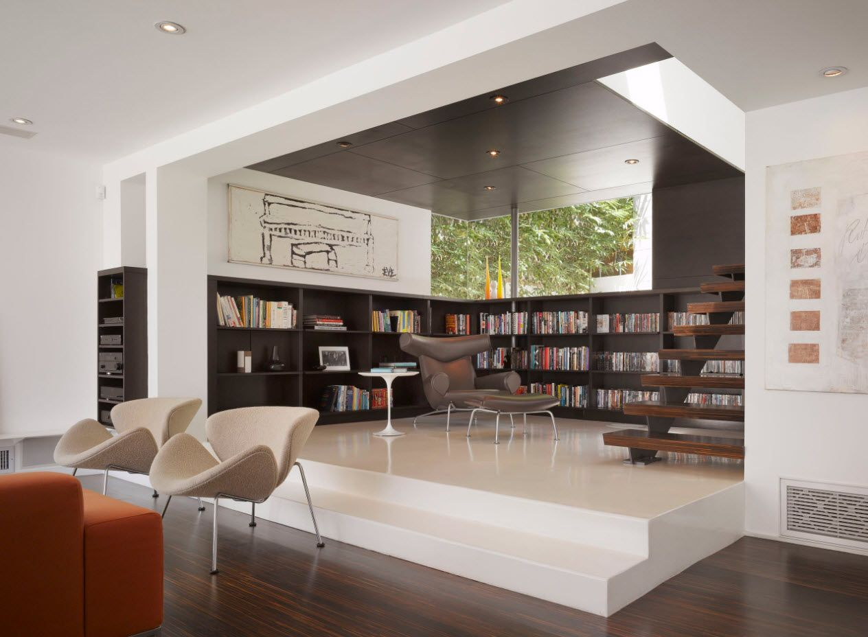 modern cottage library at the first floor with the living area in hi-tech style