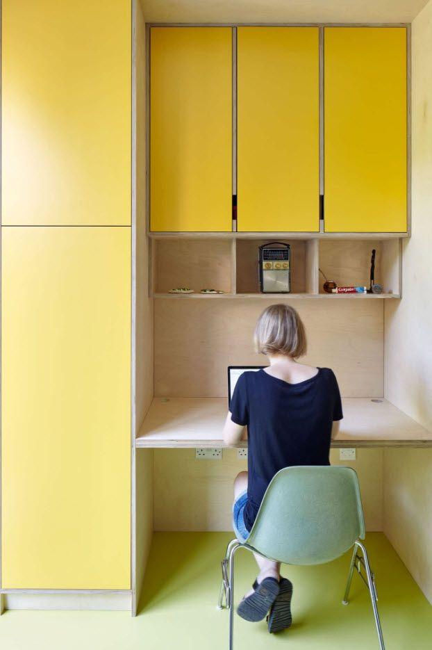 Yellow rigorous design for th minimalistic home office zone