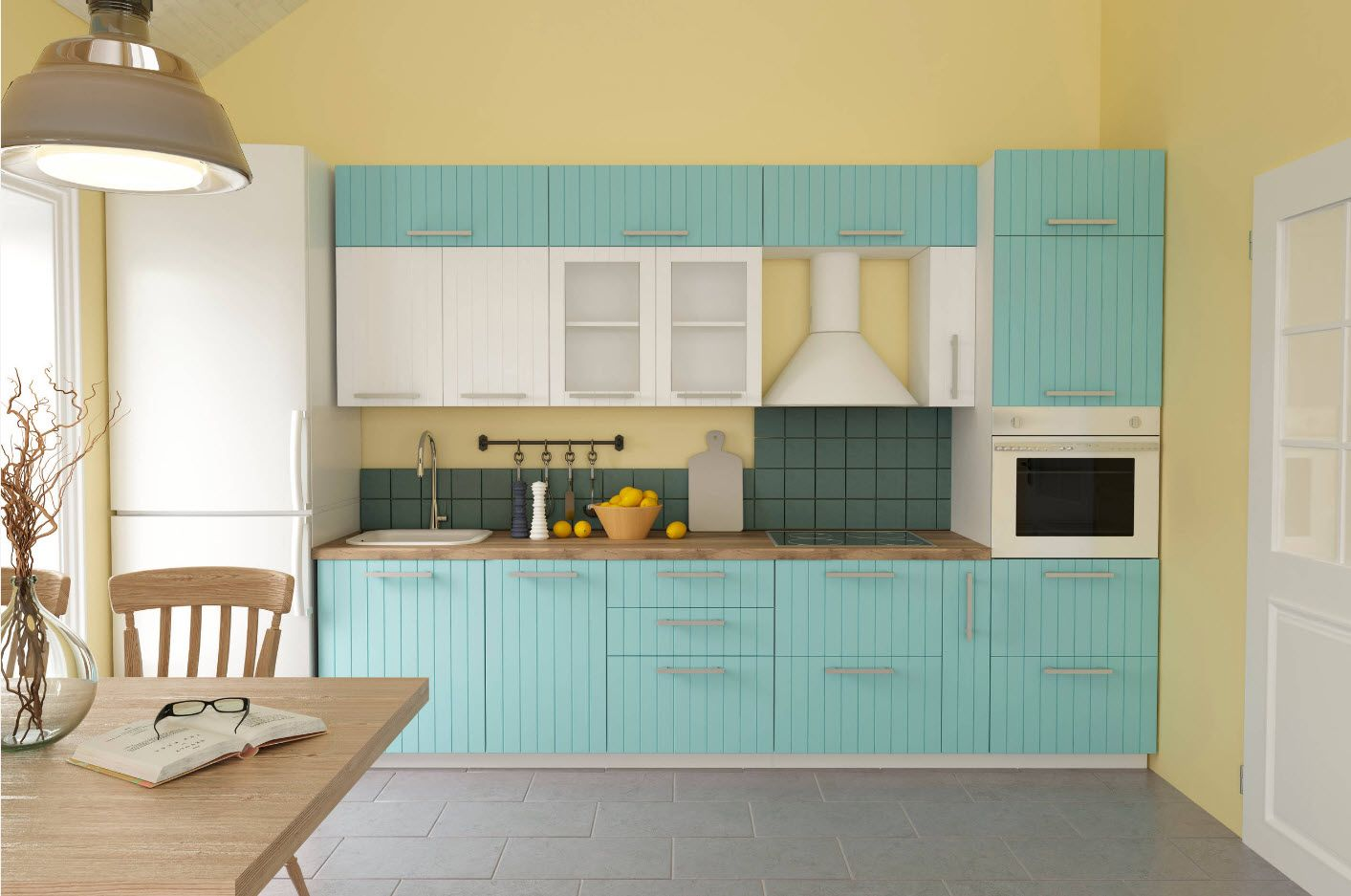 Turquoise facades of the kitchen furniture set and gray laminate at the floor