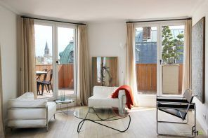 French Interior Traditions in Modern Apartment Interpretation. Inside the spacious living room