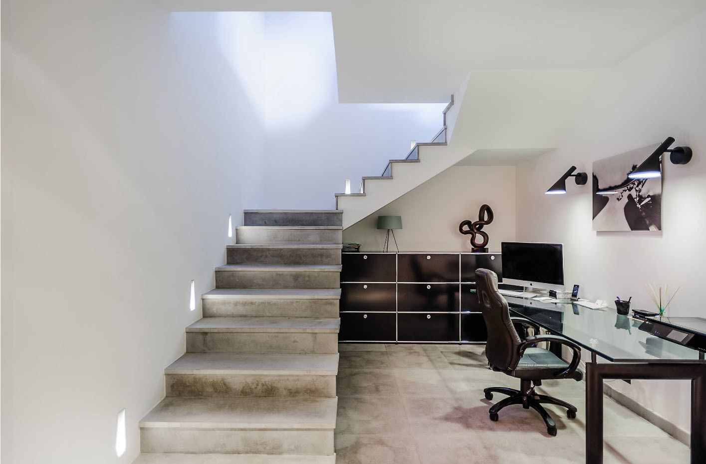 Top 100 Modern Home Office Design Trends 2017. Open layout stairs and working space at the lower floor