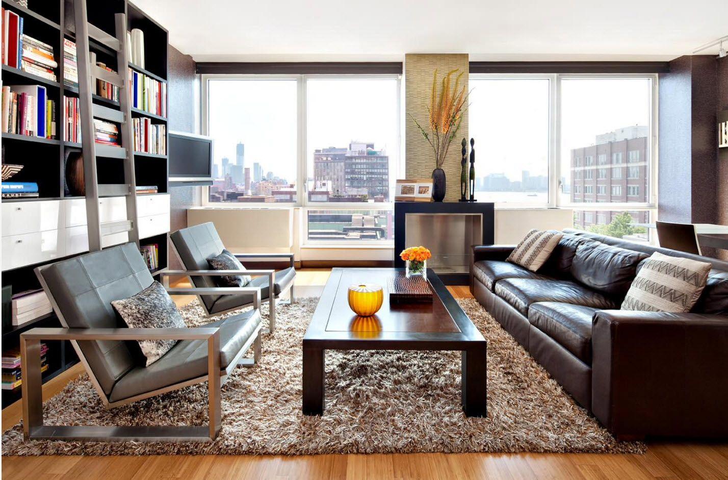 Modern zoned living room near the book shelve