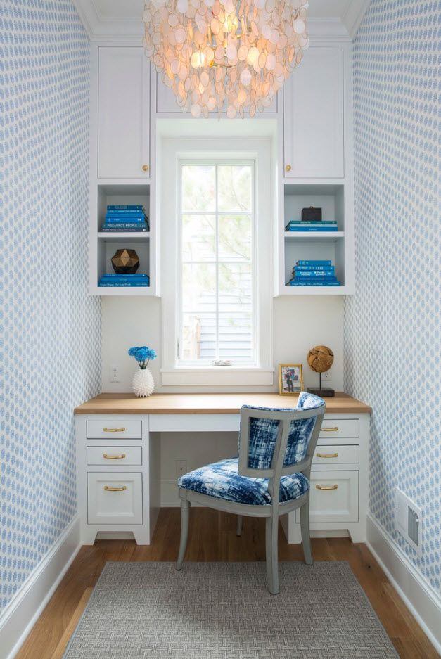 Top 100 Modern Home Office Design Trends 2017. Neat interior with Marine style touch and bluish wallpaper texture