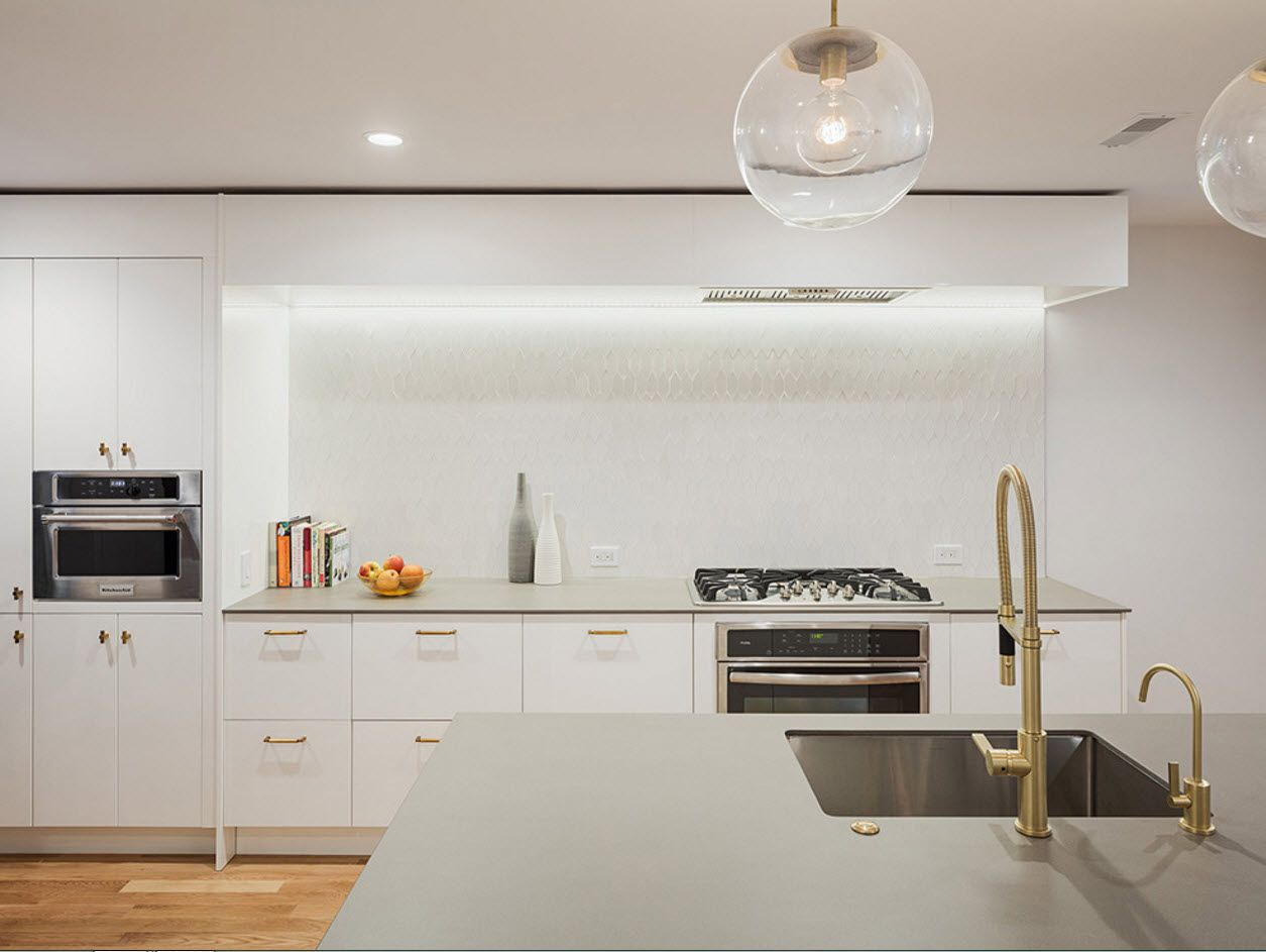 Nice white idyll for modern minimalistic interior with LED tabletop backlight
