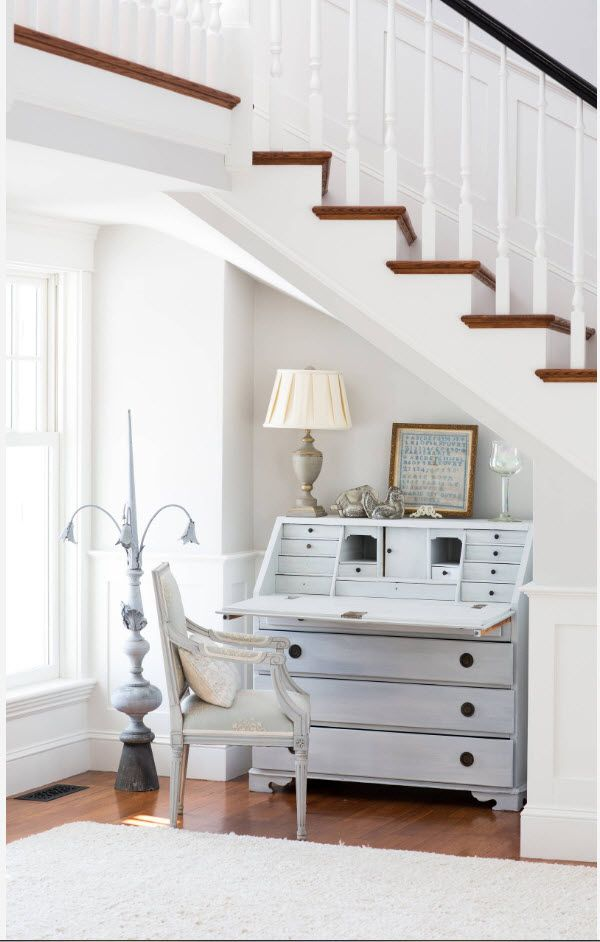 Top 100 Modern Home Office Design Trends 2017. Boudoir like working chest under the stairs