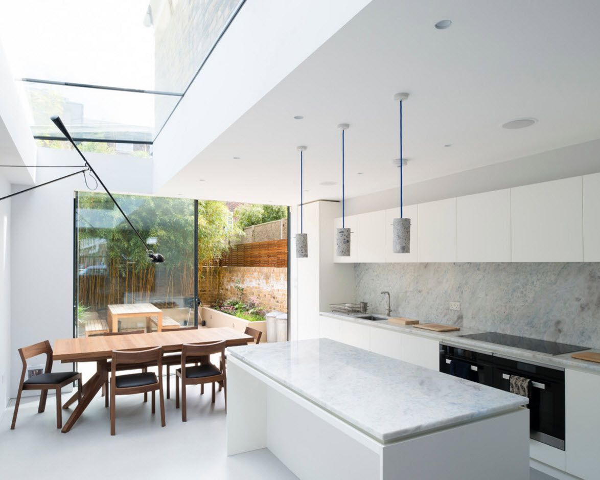 Gorgeous hi-tech cutting edge design of the kitchen 2017 in private cottage