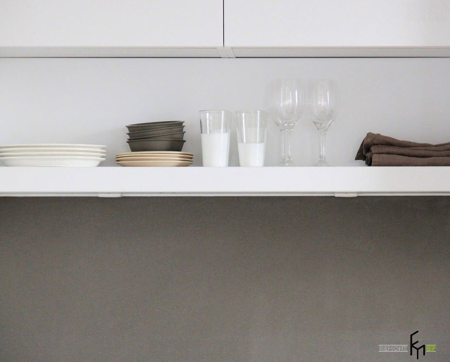 French Interior Traditions in Modern Apartment Interpretation. Gray plastic countertop